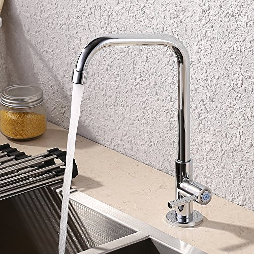 KES K8001B Cold Tap Single Lever Kitchen Pantry Bar Faucet with 24-Inch Supply Hose, Polished Chrome