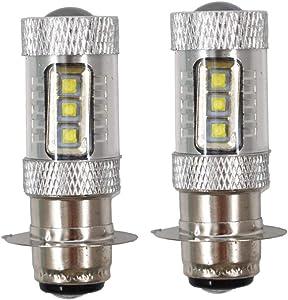 2 Pack LED 100w Super White Headlights Bulbs for Honda Rancher 350 400 Recon 250