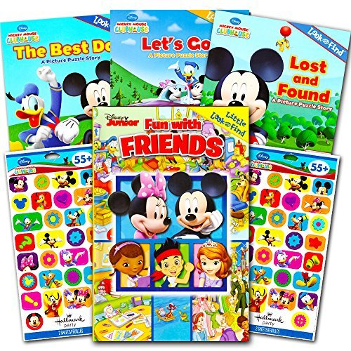 Disney Mickey Mouse Clubhouse Look and Find Books Set Kids Toddlers -- 4 Disney Find It Books with Stickers (Featuring Mickey Mouse, Minnie Mouse and More!) (Mickey Featuring Mouse)