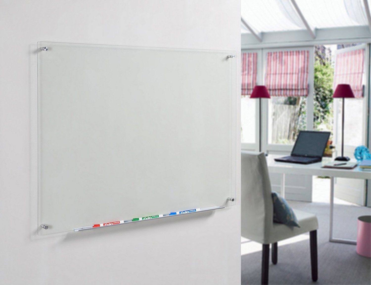 Frosted Glass Dry-Erase Board 60 cm x 90 cm Includes Aluminium MarkerTray