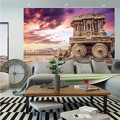 Home Decor Removable Wall Mural,Old Historic Ruins Carving with Ivy Patterns at Sunset Indian Mystic Sky Picture Wall Art,Self-Adhesive Large Wallpaper for Home Decor 66x96 inches,Cream Blue