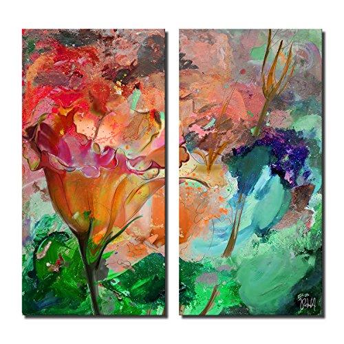 Ready2HangArt Painted Petals LXI' 2 Piece Abstract Botanical Canvas Wall Art Set, Panel: 24 x 12