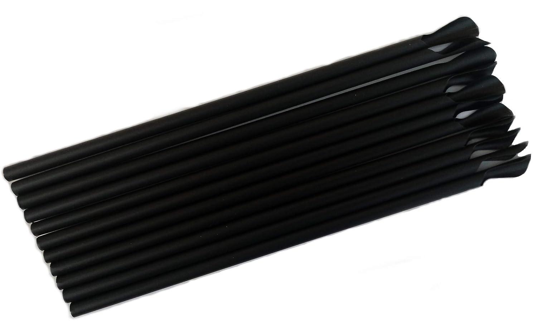 Bio Löffel Trinkhalme Strohhalme PLA schwarz 210 x 6 mm kompostierbar abbaubar