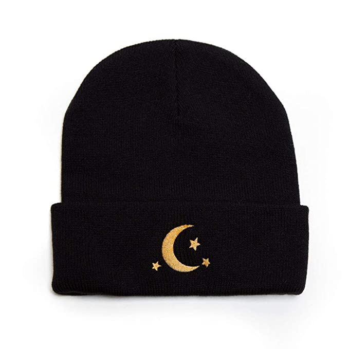 08f3d0b61c5702 Image Unavailable. Image not available for. Color: Crescent Moon Stars  Beanie Embroidered Winter Hat Men Women ...