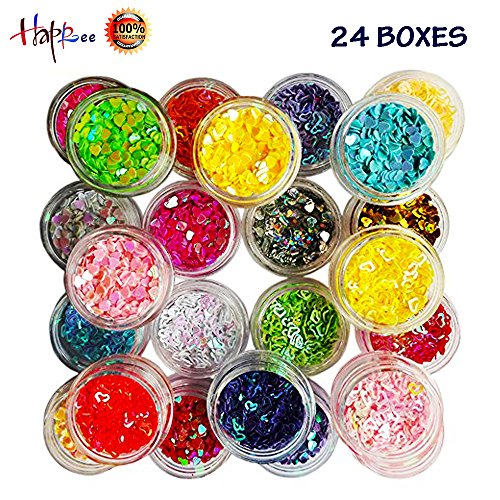 Slime Supplies kit 24 Boxes Heart Manicure Glitter for Scrapbooking Face Nail Eye DIY Slime Making Craft Drawing by Happlee