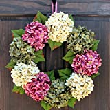 pictures of front doors Summer Spring Hydrangea Wreath for Front Door Decor; Rose Pink, Cream and Green; Small - Extra Large Sizes