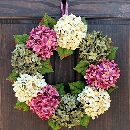 Delightful Spring Summer Hydrangea Wreath For Front Door Decor; Rose Pink, Cream And  Green;
