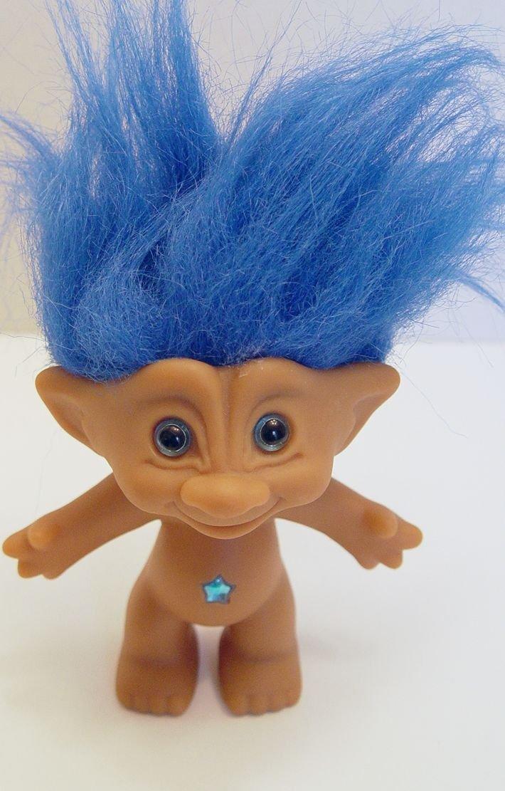 amazon com ace novelty blue hair treasure troll with blue star wish