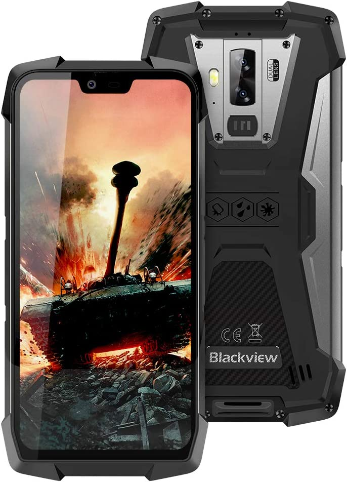 "Smartphone Impermeable, Blackview BV9700 Pro IP68 & IP69K Móvil Libre, Android 9.0 Helio P70 Dual SIM 4G Rugged Móvil, 16MP+8MP+16MP, 6GB+128GB SD 256GB, 5.84"" FHD, NFC,Pulsómetro,Face ID"