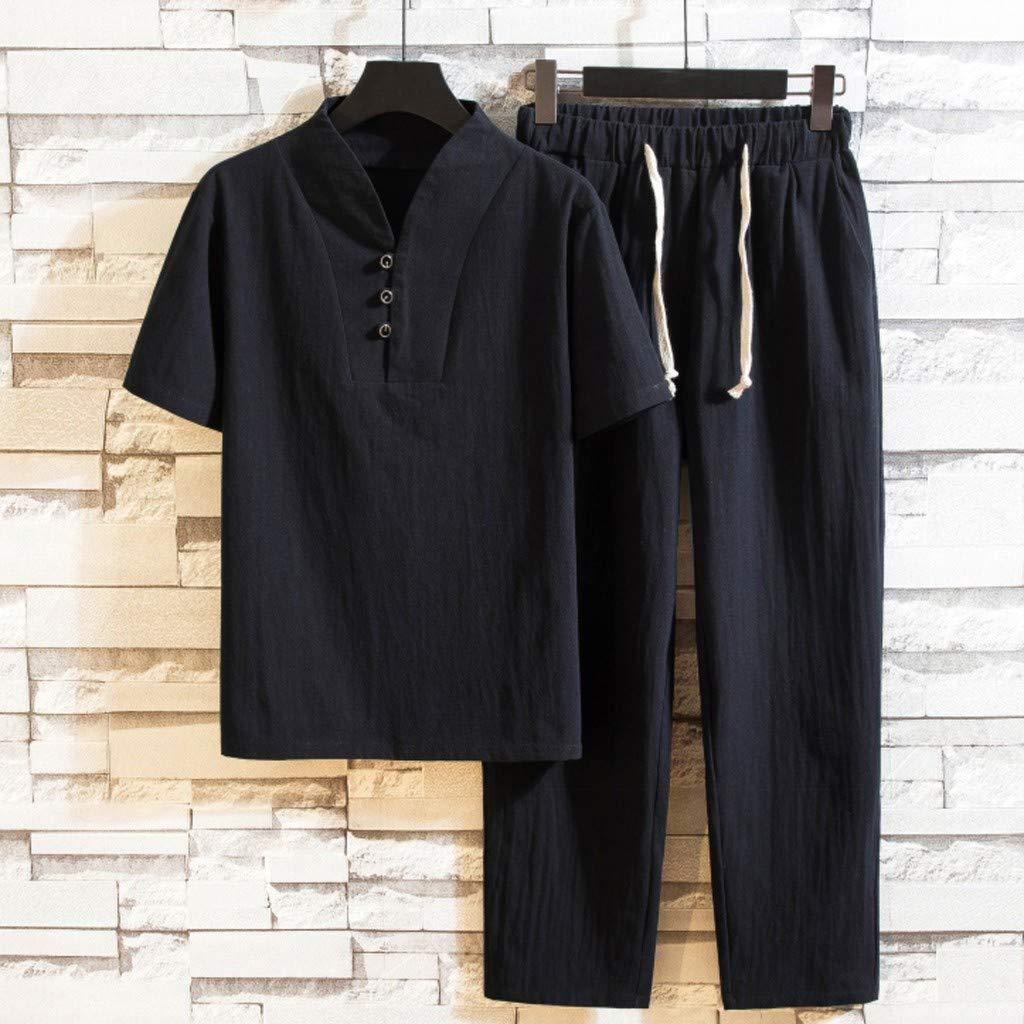 Huazi2 Mens Large Size Cotton Linen Short Sleeve T Shirts Top/&Pant Set 5XL