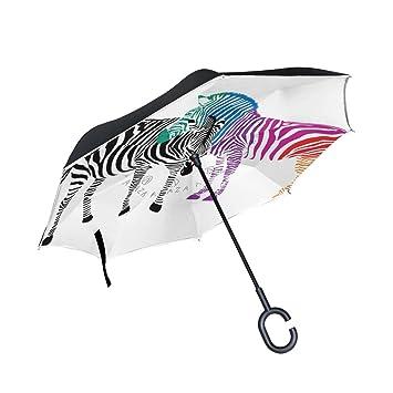 jstel doble capa puede Zebra par negro y colorido paraguas coches Reverse resistente al viento lluvia