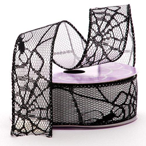 Satin Spiderwebs Halloween Wired Ribbon - 1.5