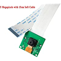 Electrely - Módulo de cámara de 5 MP con Cable Suave de 15 cm para Raspberry Pi3 Modelo B Pi2 Pi1 Interfaz CSI, cámara Web de Apoyo 1080p 720p vídeo