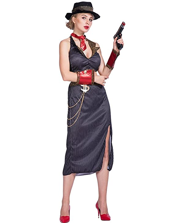 1930s Costumes- Bride of Frankenstein, Betty Boop, Olive Oyl, Bonnie & Clyde EraSpooky Womens Glam Gangster Costume $24.69 AT vintagedancer.com