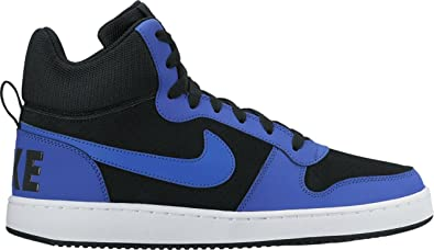 ed88b6a97939 Nike Men s Court Borough MID Black Paramount Blue-White Basketball Shoes-10  UK