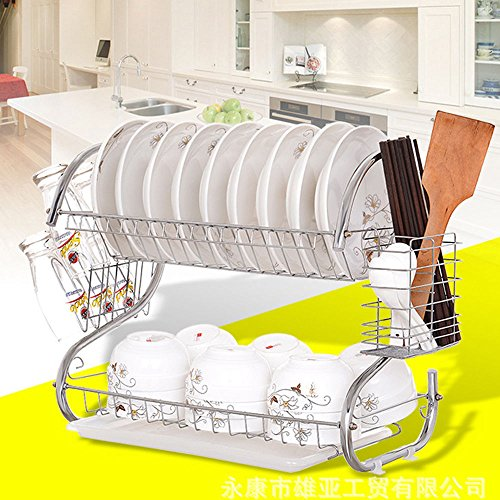 (2 Tiers Kitchen Dish Cup Drying Rack Drainer Dryer Tray Cultery Holder Organizer)