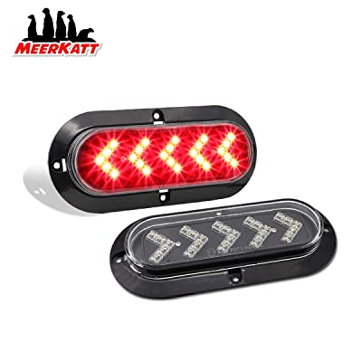 Meerkatt (Pack of 2) 6 Inch Surface Mount Arrow Clear Lens Red LED Brake Stop Tail Light Sealed Oval Side Marker Clearance Lamp Waterproof Assembly Universal RV Trailer Lorry Bus Truck 12V DC 25LED: Automotive