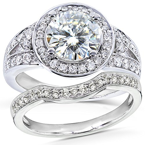 Forever-Brilliant-Art-Deco-Round-cut-Moissanite-and-Halo-Diamond-Bridal-Ring-Set-2-Carat-ctw-in-14k-White-Gold