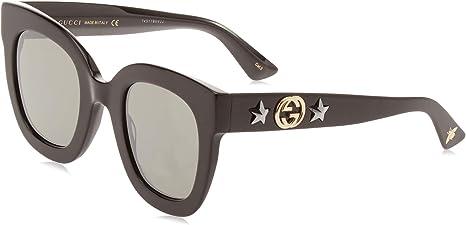 Gucci GG0208S 002 Gafas de sol, Negro (2/Grey), 49 para Mujer