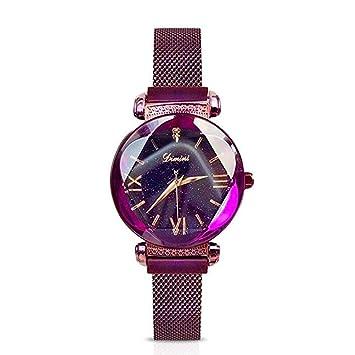 YNYN Mujer Cuarzo Reloj Moda Cielo Estrellado Impermeable Ocio Diamante De Imitación Cadena De La Red Reloj Imán Reloj De Piedra Vaso Espejo Mujer Reloj ...
