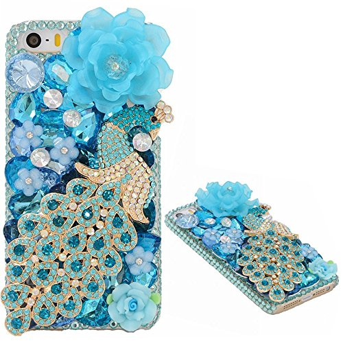 Spritech(TM) Bling Clear Phone Case For Iphone 7 Plus 5.5inch,3D Handmade Blue Crystal Peacock Flower Accessary Design Cellphone Hard Cover (Rose Agate Gold White)
