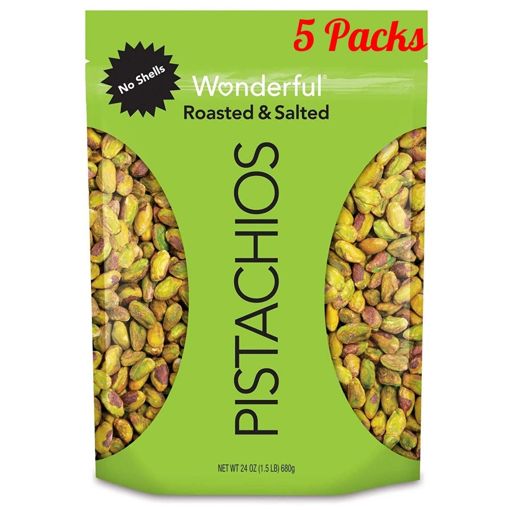 Wonderful Pistachios, No-Shell, Roasted and Salted, 24 Ounce Resealable Bag (Pack of 5) by Wonderful