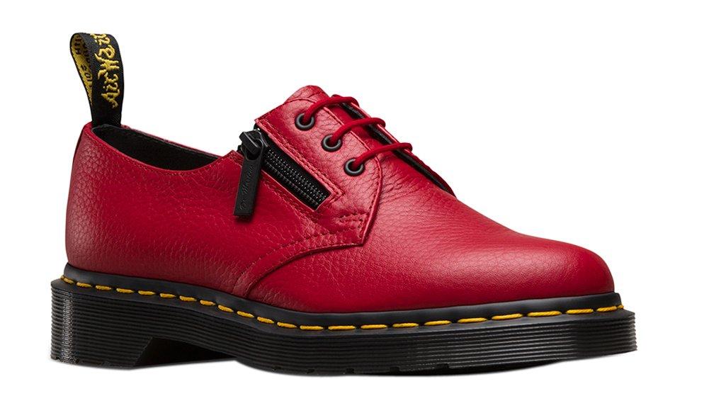 Dr. Martens Womens 1461 W/Zip 3 Eye Shoe Dark Red Size UK 9 (11 M US Women)