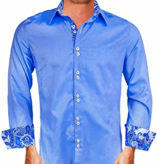 product image for Blue Italian Oxford with Blue Paisley Cuffs