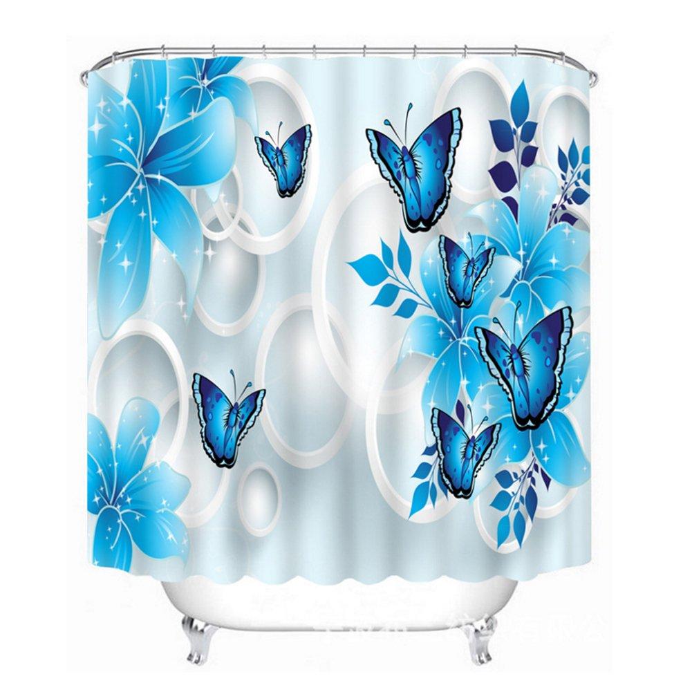 Amazon.com: Butterfly Shower Curtain Blue, Malicosmile Waterproof ...