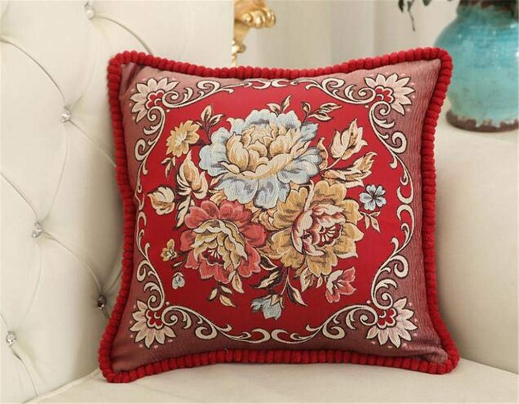 Soft Pillow European Style Embroidery Jacquard Throw Pillow Easy Clean with Removable Pillowcase Many Colors Avaliable Bed Chair Office Home Decorative (Size : C)