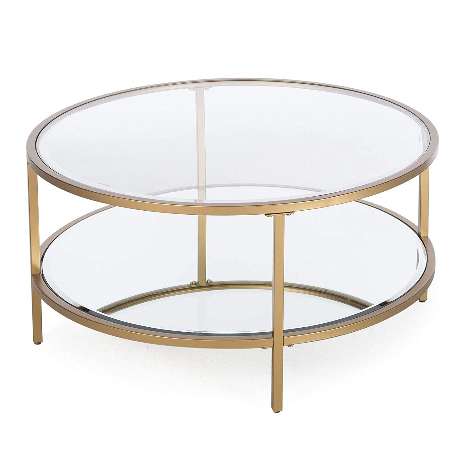 Amazon com contemporary modern glam metal glass round gold coffee table w shelf furniture kitchen dining