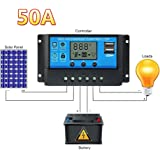 50A 12V / 24V LCD Solar Charge Controller USB Output Solar Panel Battery Lamp Auto Regulator Anti-lightning Overload Protection with Current Display