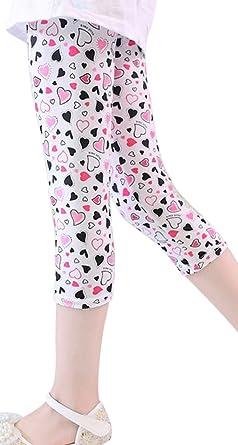 edc7b543ce47b SportsWell Girls Kids Printing Flower Leggings Toddler Cropped Capris Pants  Black White Heart(US S