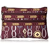 LeSportsac 3 Zip Case Cosmetic Bag, Deco Charm Plum, One Size