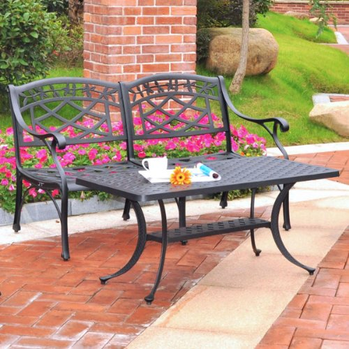 - Crosley Furniture Sedona 2-Piece Solid-Cast Aluminum Outdoor Conversation Set with Table and Loveseat - Black