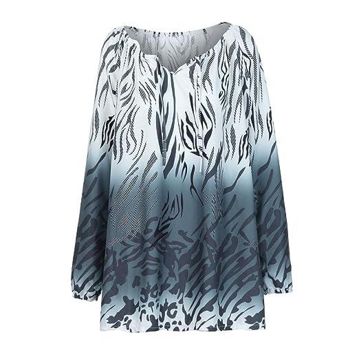 Image Unavailable. Image not available for. Color  Hosamtel Women Plus Size  T-Shirt Long Sleeve V-Neck Off Shoulder Leopard Print 3e0703ba6