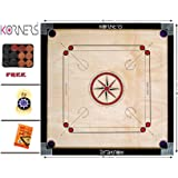 KORNERS Full Size(Large) 32' Inch 4mm Round Pocket Carrom Board with Coins, Striker & Powder