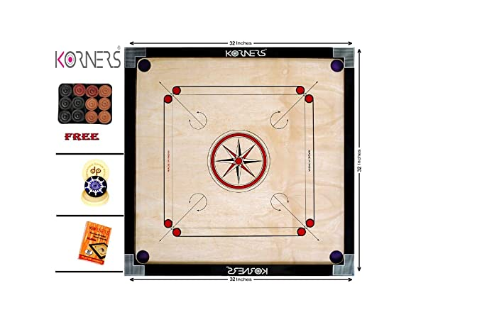 KORNERS Full Size(Large) 32 Inch 4mm Round Pocket Carrom Board with Coins, Striker & Powder