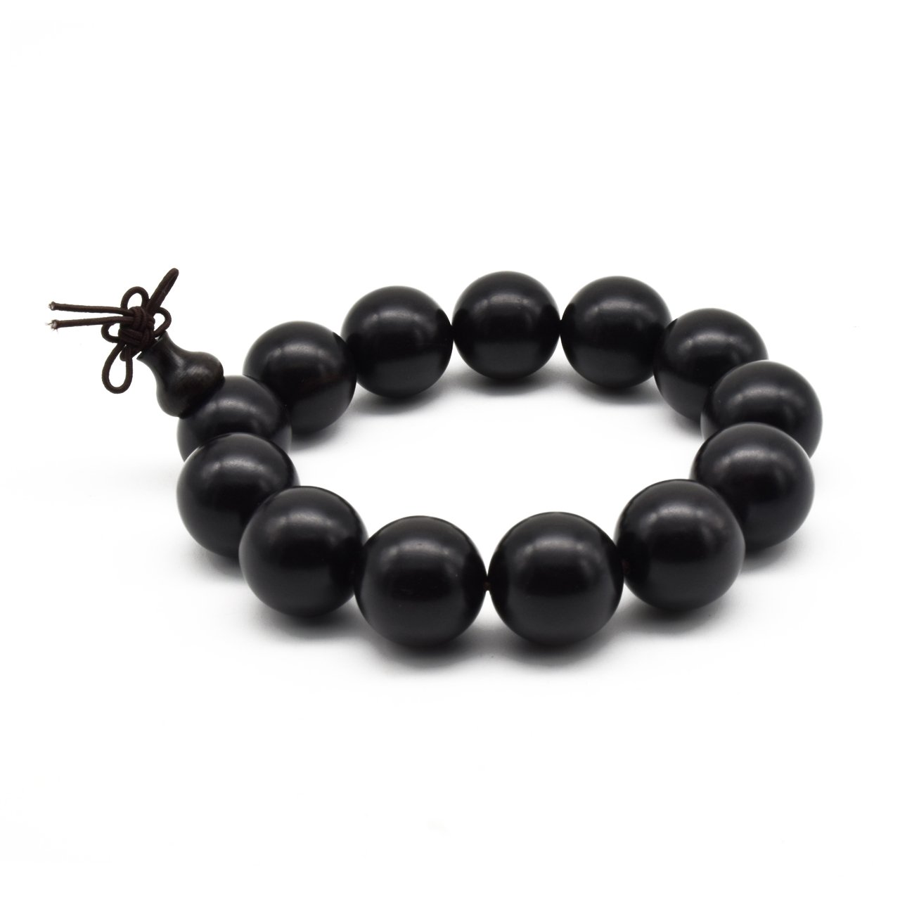 Zen Dear Unisex Natural Ebony Buddhist Prayer Bead Necklace Bracelet Tibetan Prayer Mala Beaded Black ZD-EBW-00-00