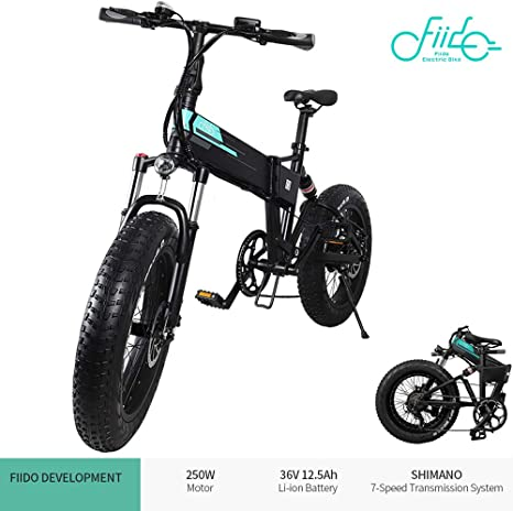Fiido M1 Electric Mountain Bike Foldable 40 Miles 12 5ah 20 Fat Tires Electric Bikes Men With Led Screen Shimano Mechanical Disc Brake 7 Speed 3 Riding Modes For City Teens And Adults Black Amazon Co Uk