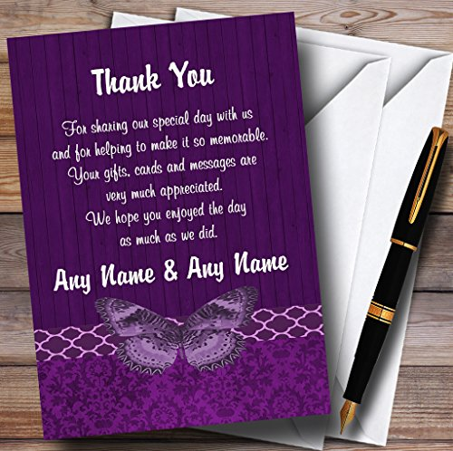 Rustic Vintage Wood Butterfly Purple Personalized Wedding Thank You Cards