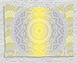 Ambesonne Grey and Yellow Tapestry, Mandala Ombre Old Boho Pattern with Spiral Round Floral Print, Wall Hanging for Bedroom Living Room Dorm, 60 W X 40 L inches, Yellow Grey