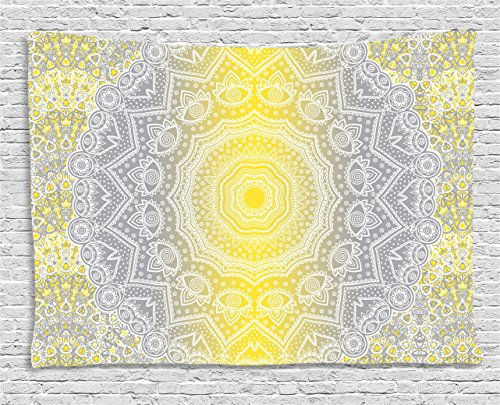 Grey and Yellow Tapestry by Ambesonne, Mandala Ombre Old Boho Pattern with Spiral Round Floral Print, Wall Hanging for Bedroom Living Room Dorm, 60 W X 40 L Inches, Yellow Grey