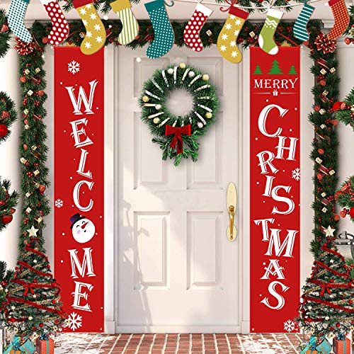 Latoy Merry Christmas Banners, Front Door Welcome Christmas Porch Banners Red Porch Sign Hanging Xmas Decorations for Home Wall Indoor Outdoor Decorations