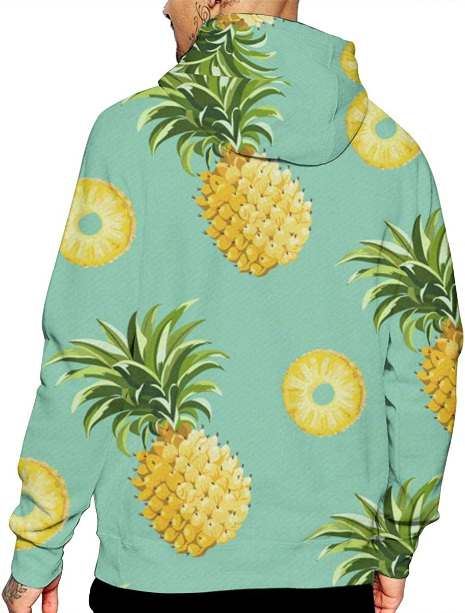 Funny Pineapple Mens Front Pouch Pocket Pullover Hoodie Sweatshirt Long Sleeves Pullover Tops