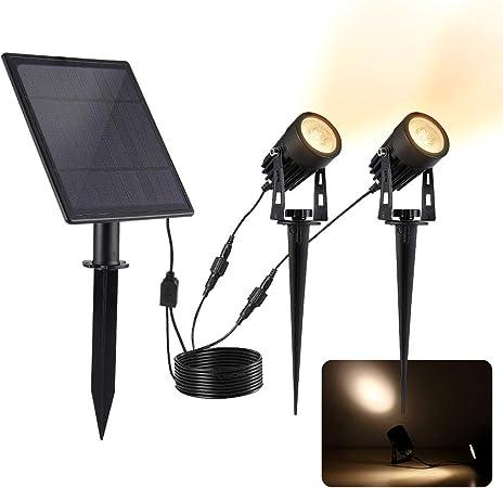 Luces Solares Jard/ín 2 Packs Lamparas Solares Exterior con Sensor de Movimien IP65 Impermeable Paisaje Pathway L/ámpara Luces de Seguridad para Patio C/ésped Escaleras