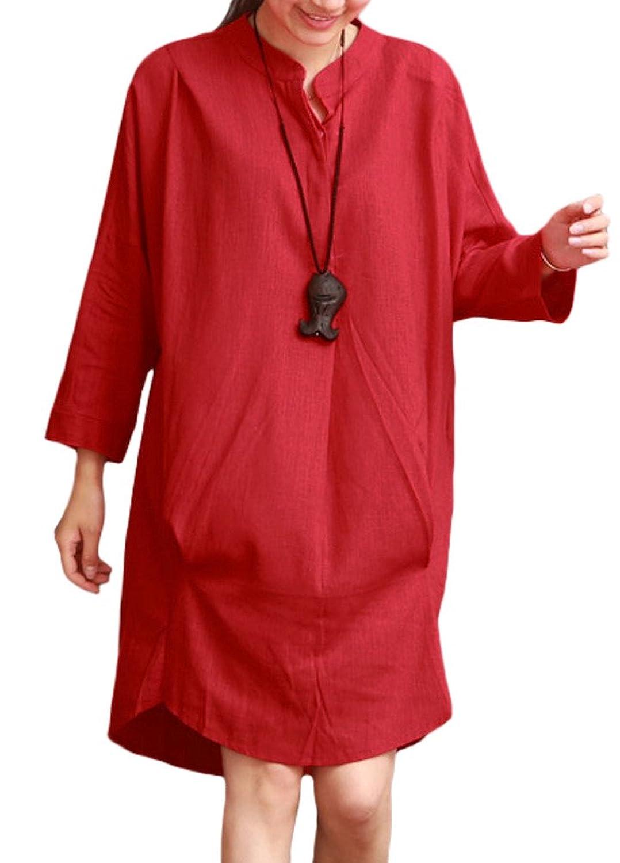 MatchLife Damen Stehkragen Blusenkleider Langarm Blusen