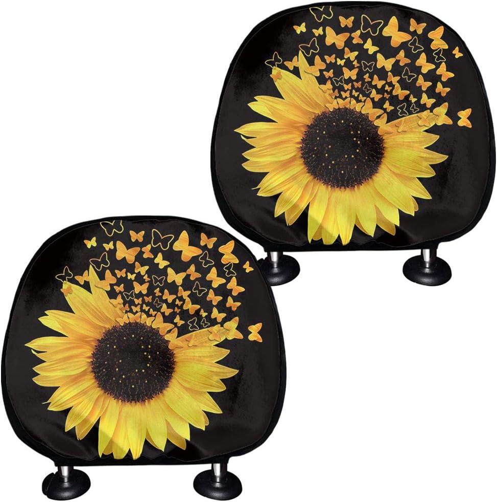 SEANATIVE Headrest Cover for Car Yellow Sunflower Women SUV Van Truck Sedan Head Rest Protector Wraps 2 Pack Set