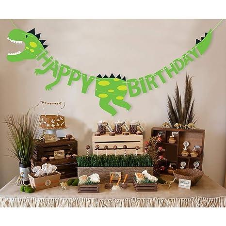 Homclo Dinosaurios Banner Cumpleaños Banner Happy Birthday ...
