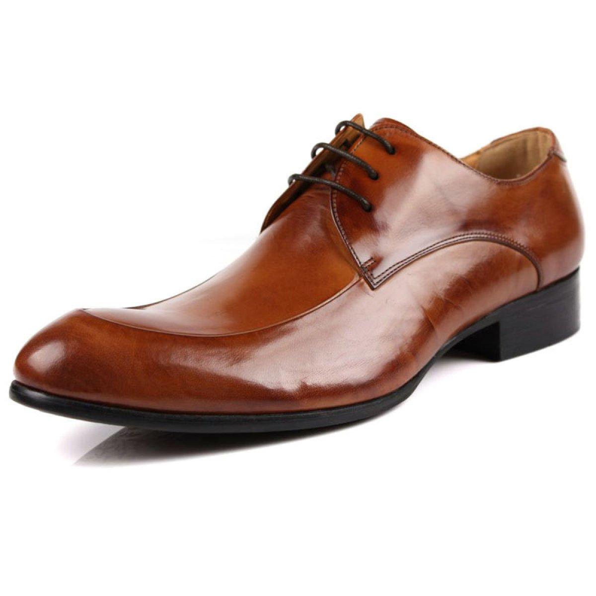 Leder Herrenschuhe England Spitz Geschäft Kleid Schuhe Spitze Mode Geschnitzte Schuhe Braun